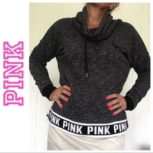 PINK VICTORIAS SECRET GRAY COWL NECK SWEATSHIRT M
